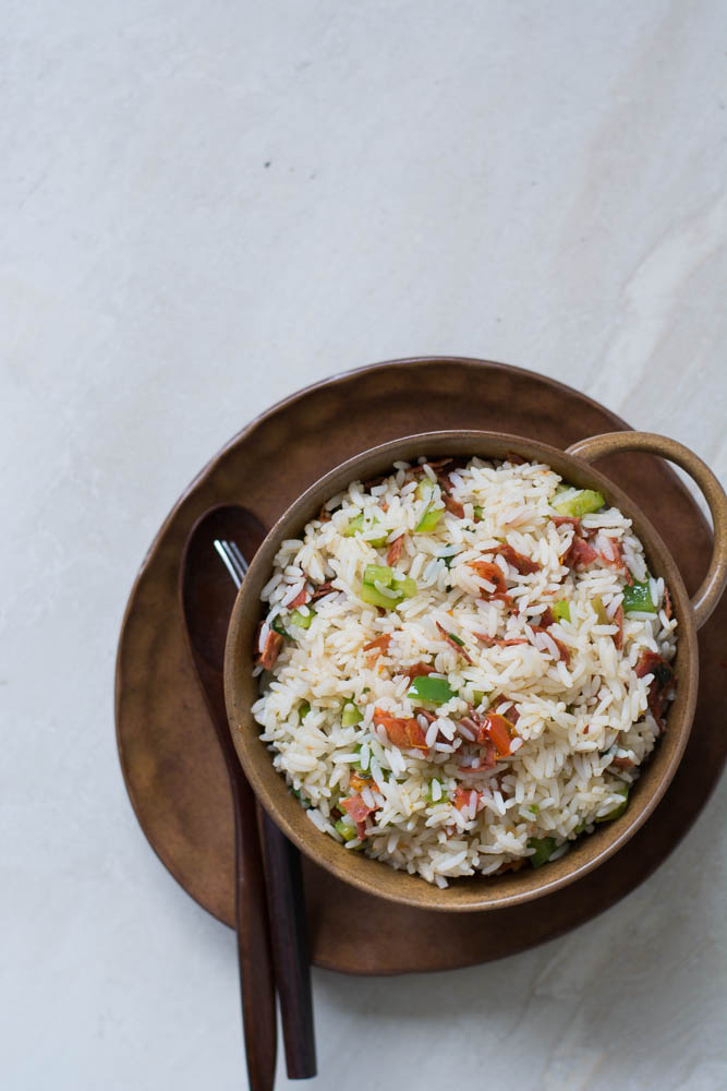 Stir fried Rice (with salami, sun dried tomatoes, bell peppers and herbs) - thespiceadventuress.com