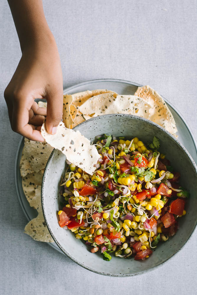 Sprouted beans and corn salsa - thespiceadventuress.com
