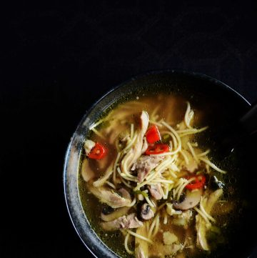 Chicken Noodle Soup with Brown Mushrooms - a bowl of comfort for a cold, wintry night - thespiceadventuress.com