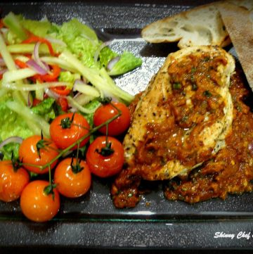 Grilled Cajun Chicken…served with tangy Indian sauce, oven roasted baby tomatoes and fresh green salad - thespiceadventuress.com