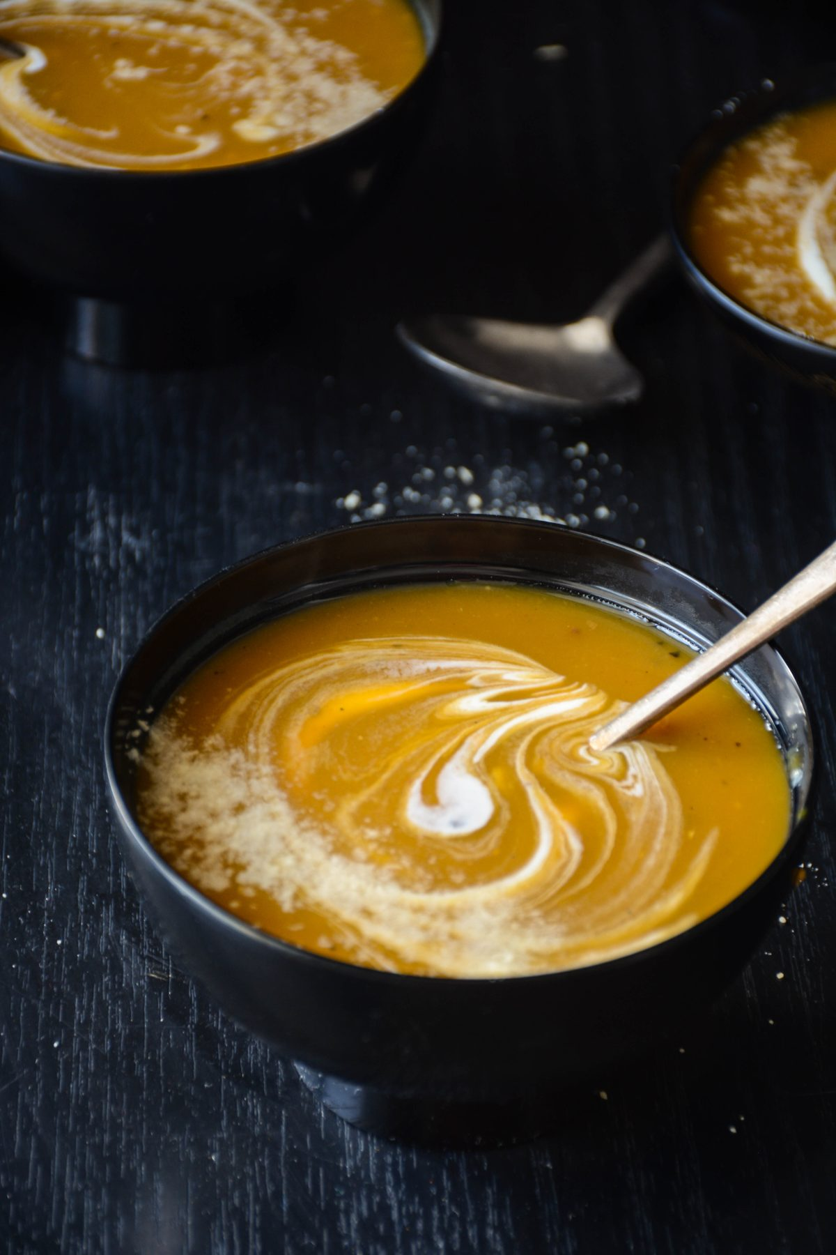 Butternut Squash Soup - a delicious and warming soup with a hint of spice and generously endowed with some cream and parmesan - thespiceadventuress.com