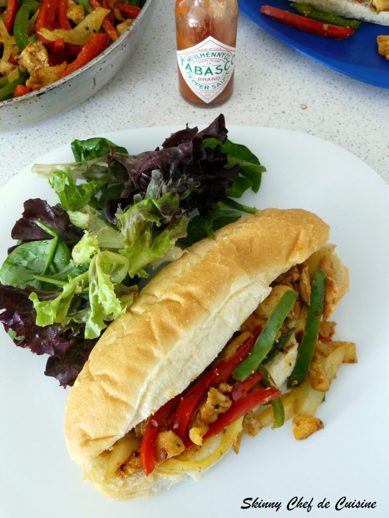 Shredded Chicken with Trio of Bell Pepper Sandwich - thespiceadventuress.com