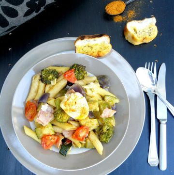 Penne with ham, egg and roasted seasonal vegetables - thespiceadventuress.com