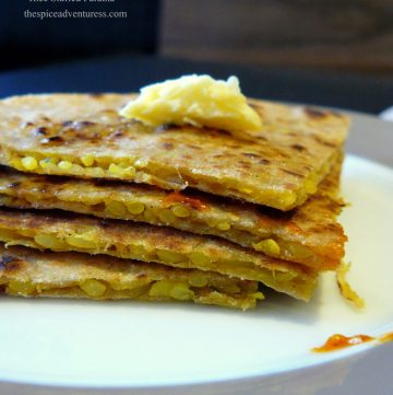 Rice Stuffed Paratha (Indian flat bread stuffed with flavoured rice) - thespiceadventuress.com