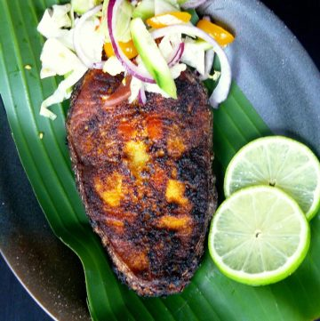 Pan Fried Salmon (with a Kerala style spice marinade) - thespiceadventuress.com