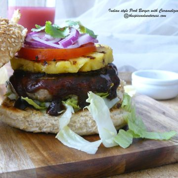 Indian style Pork Burger with Caramelized Pineapple + Winner of the Cookbook Giveaway - thespiceadventuress.com