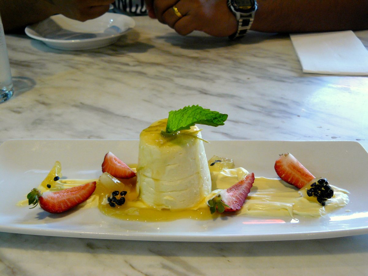 Passionfruit and lime Bavouis with double cream and passionfruit lime jelly