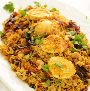 Egg biryani - an aromatic, mildly spiced fragrant rice dish from India - thespiceadventuress.com