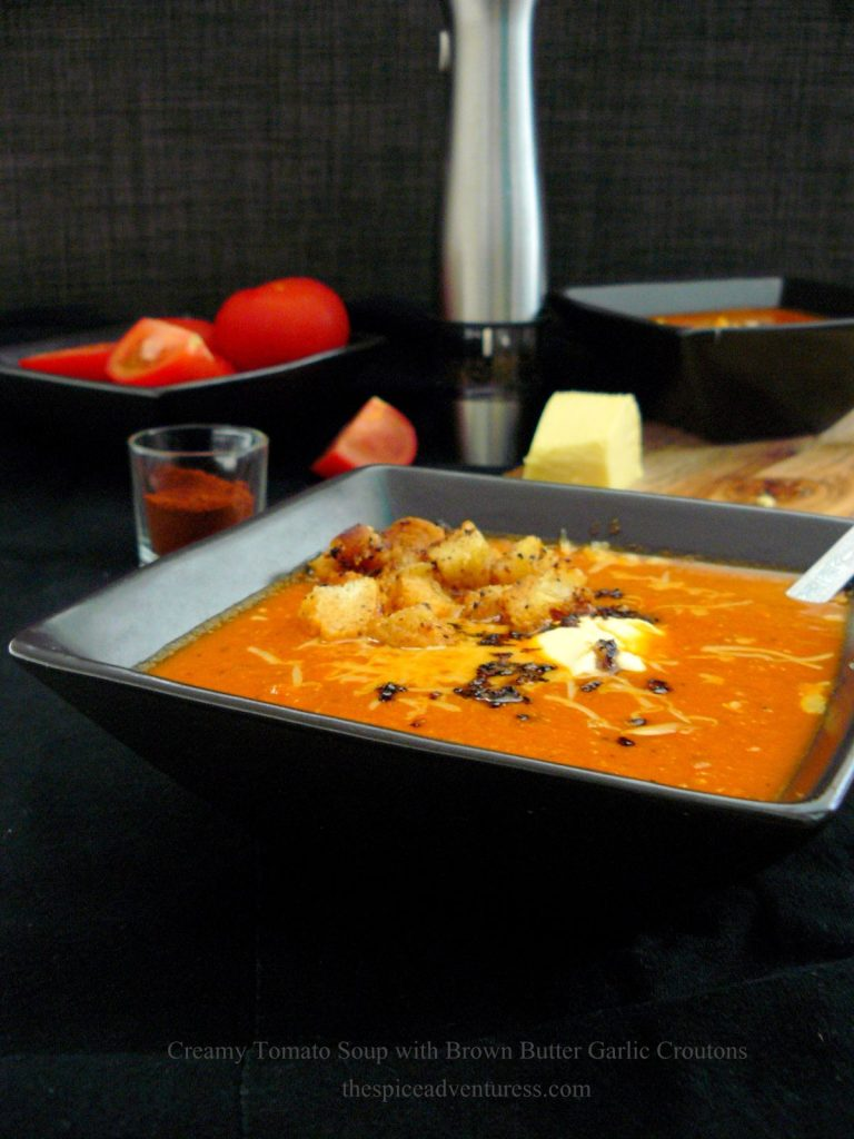 Creamy Tomato Soup with Brown Butter Garlic Croutons - thespiceadventuress.com