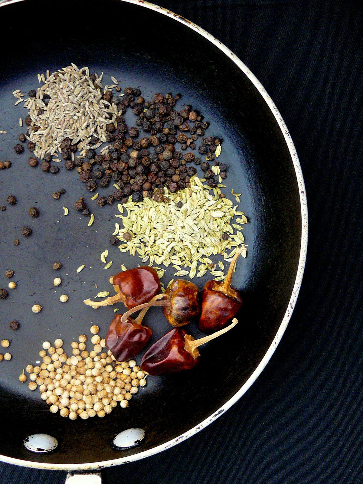 Roasting spices - Chicken Chettinad Pepper Masala (Milagu Masala Kozhi) - thespiceadventuress.com