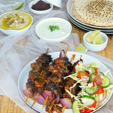 Grilled Kangaroo Skewers with Red Chermoula - thespiceadventuress.com