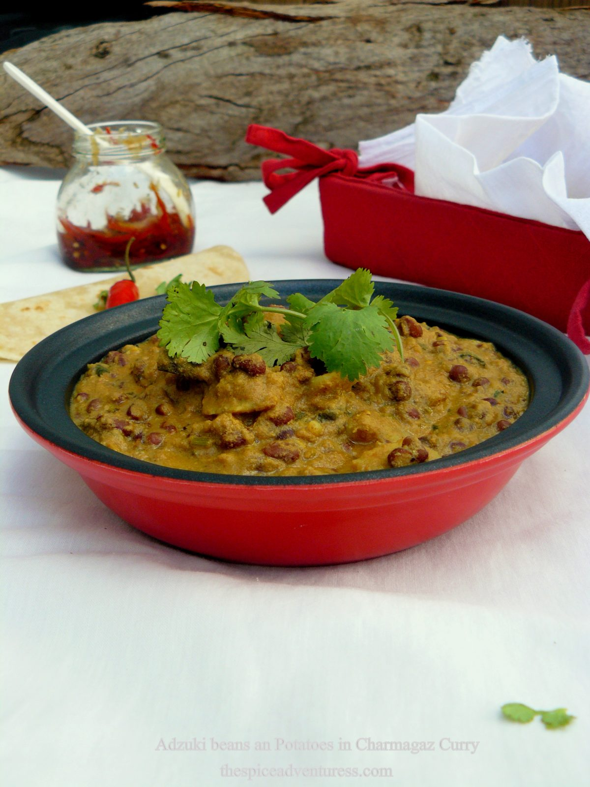 Adzuki Beans and Potatoes in Charmagaz Curry - a healthy vegetarian delight - thespiceadventuress.com