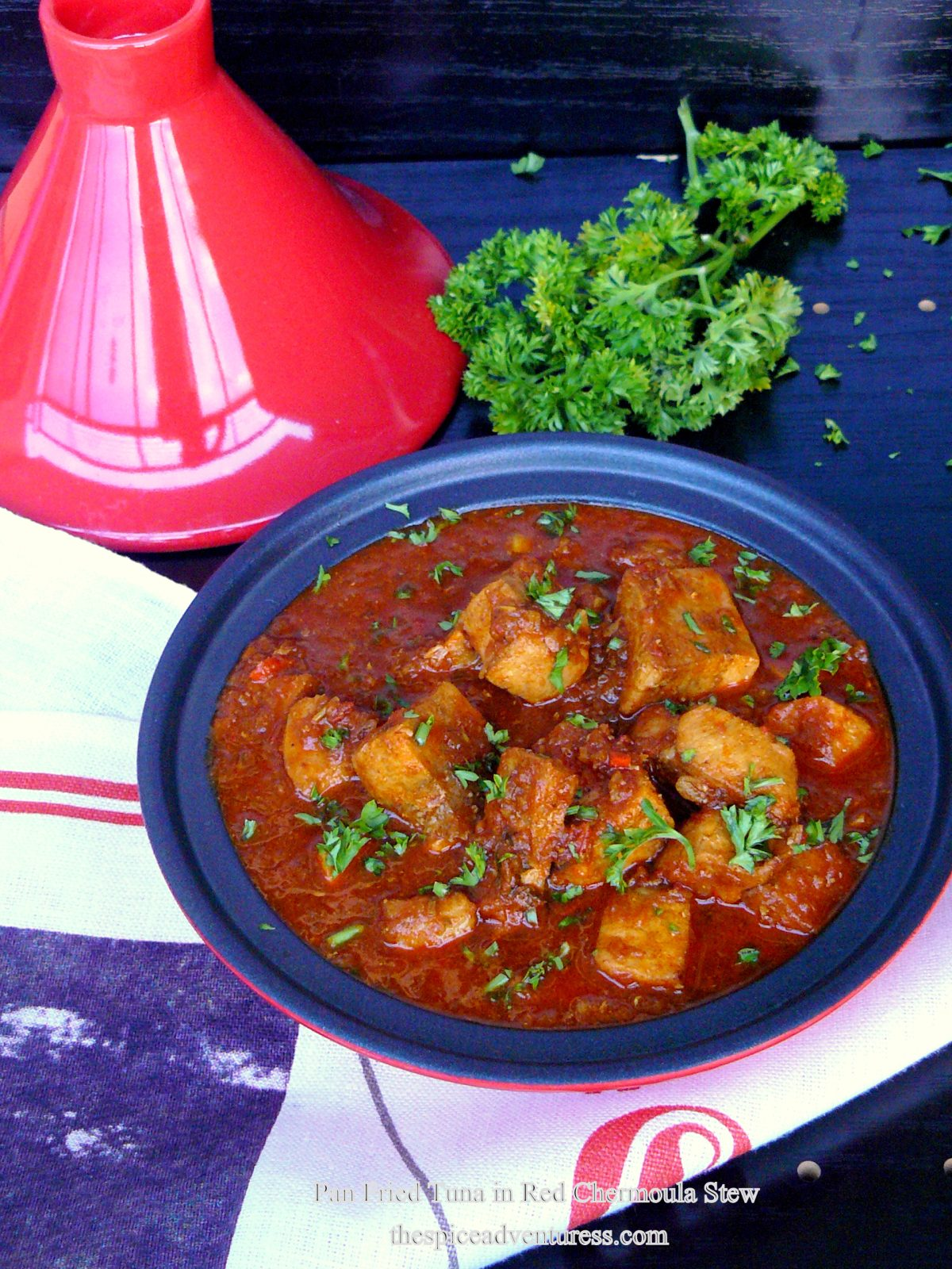 Pan Fried Tuna in Red Chermoula Stew - an Indo-Moroccan fusion dish - thespiceadventuress.com