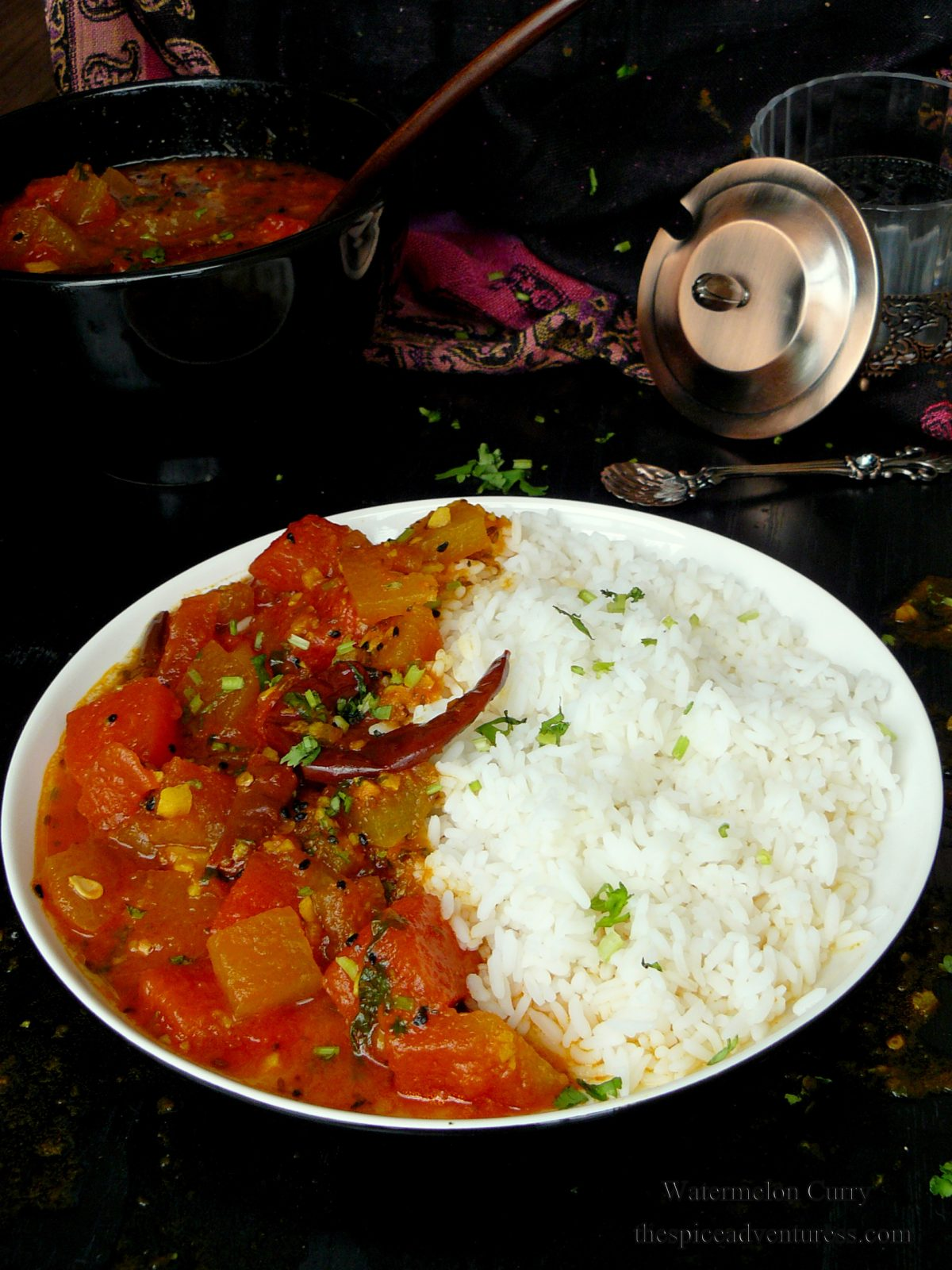 Watermelon Curry - a mildly spiced aromatic curry with watermelon rind and flesh - thespiceadventuress.com
