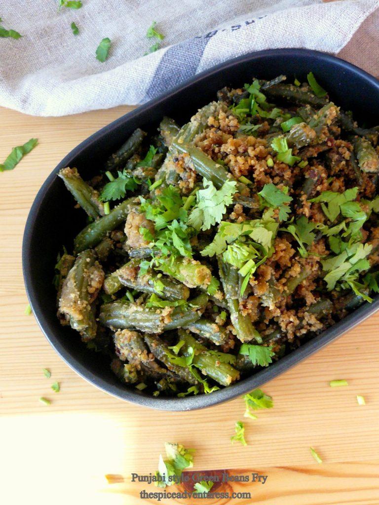 Punjabi style Green Beans Fry - thespiceadventuress.com
