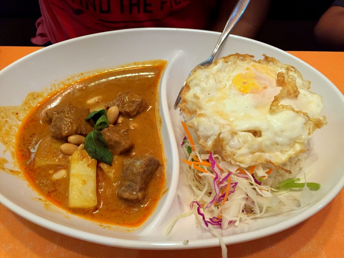 Massaman curry with coconut rice