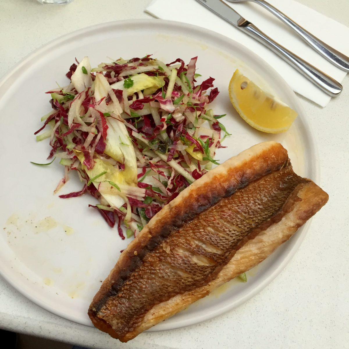 grilled snapper with a radish, green apple, witlof salad