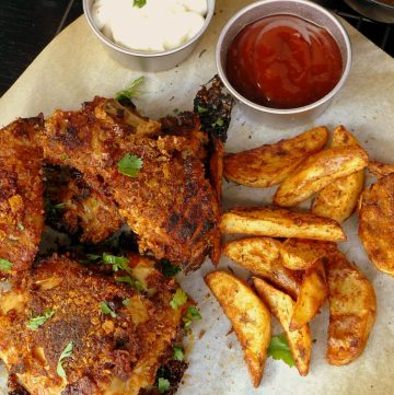 Southern Fried Chicken with Paprika Wedges - thespiceadventuress.com