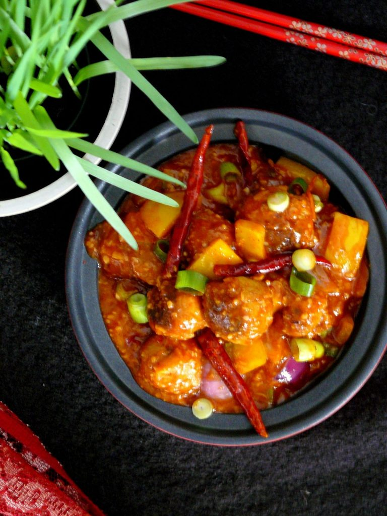 Oats Kofte in a Chilli Garlic Sauce– Indo Chinese Flavours - thespiceadventuress.com