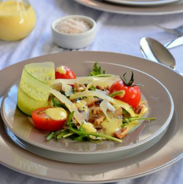 Grilled Fennel, Walnut and Cherry Tomato Salad with Fresh Turmeric Aioli - thespiceadventuress.com