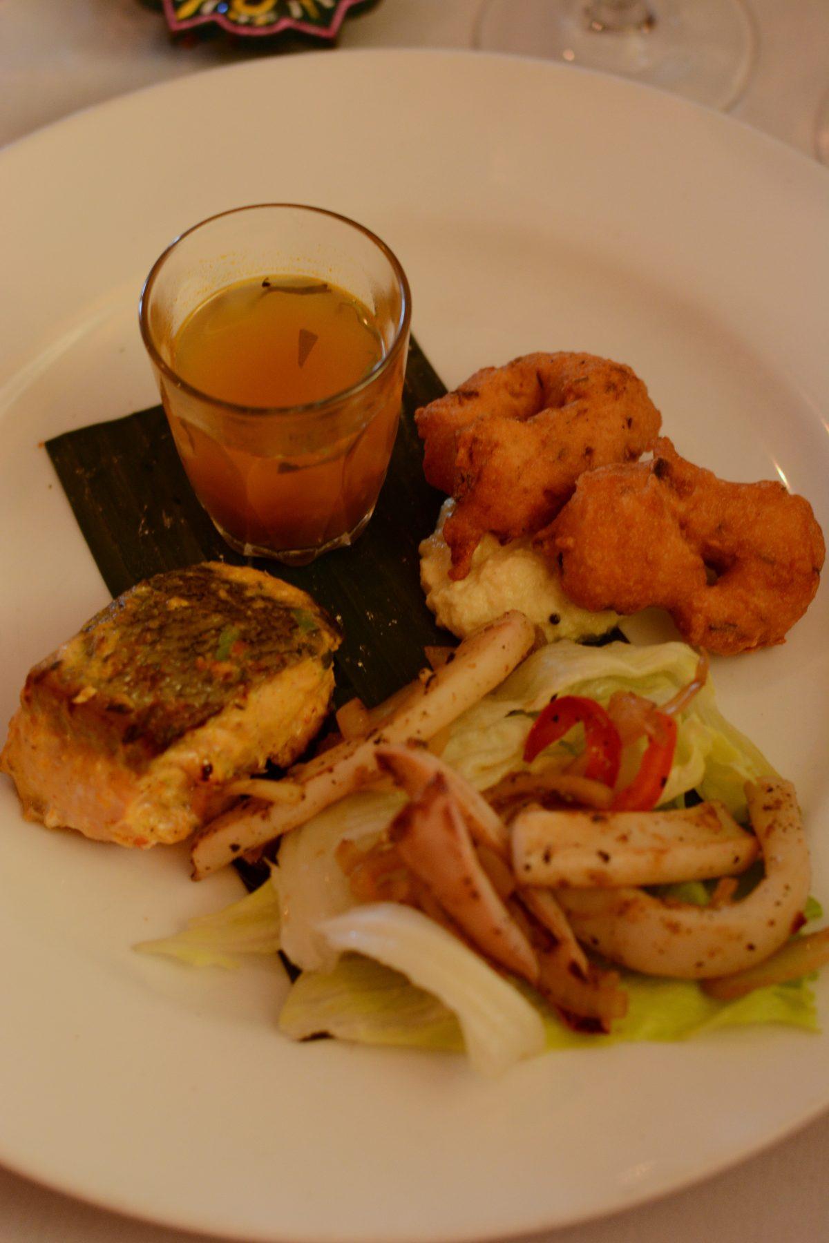 Kerala Pan Seared Salmon, Pepper studded Vadai, Madras style Calamari and a shot of peppery Rasam