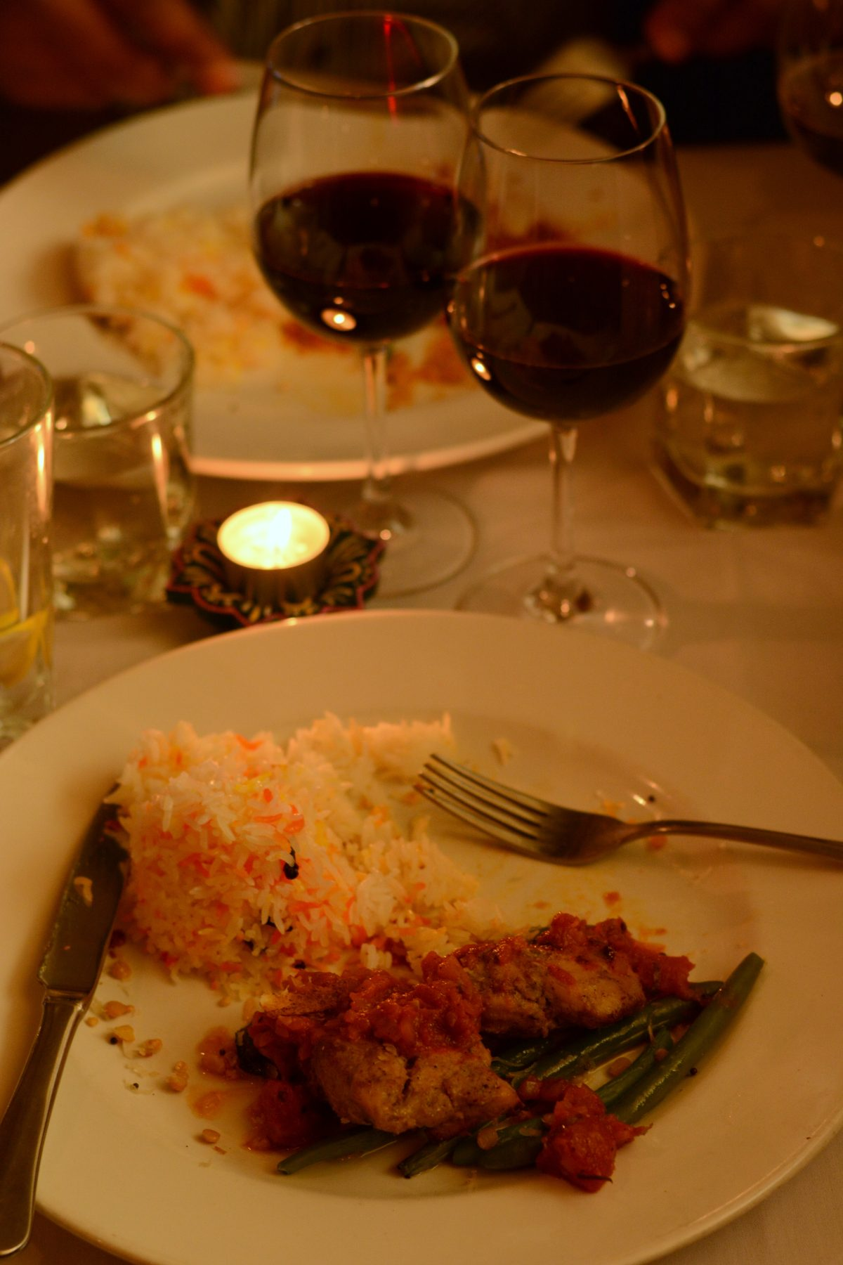 Kozhi Vartha or Oven Roasted Chicken with Coconut served with Hyderabadi Pilaf and Long Beans Poriyal paired with a 2013 Avani Syrah