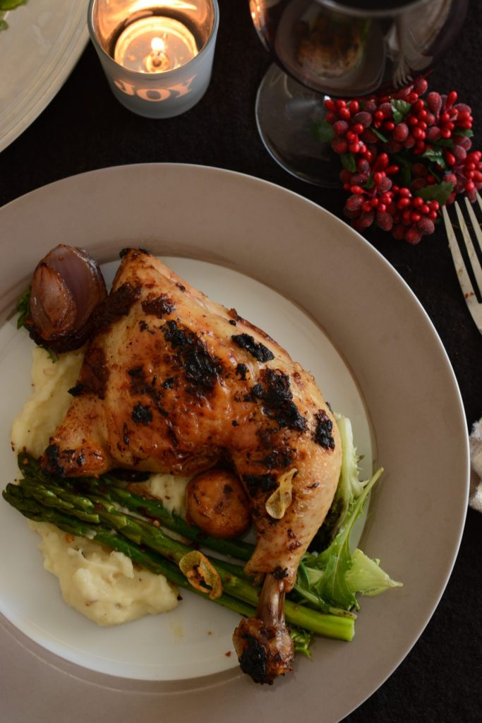 Roast Chicken with Vegemite Masala (with Chilli Garlic Asparagus and Cumin spiced Mashed Potatoes) - thespiceadventuress.com