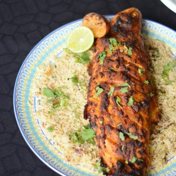 Roasted Spicy Golden Trout with Arabian Rice - perfectly roasted golden trout with a delicious signature spice marinade - thespiceadventuress.com