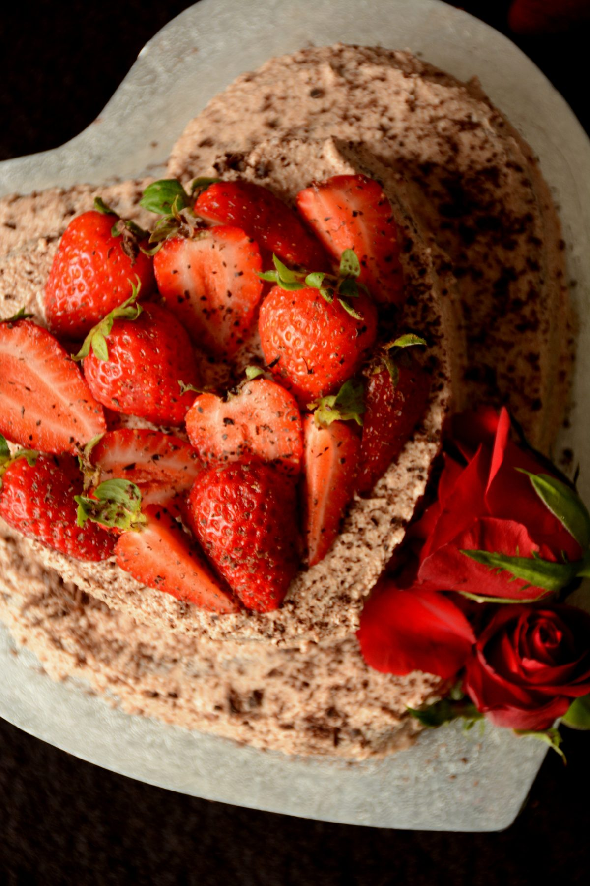 Chocolate Fudge Cake with Milk Chocolate and Fresh Strawberries - the most delicious way to say 'I love you' this Valentine's Day - thespiceadventuress.com
