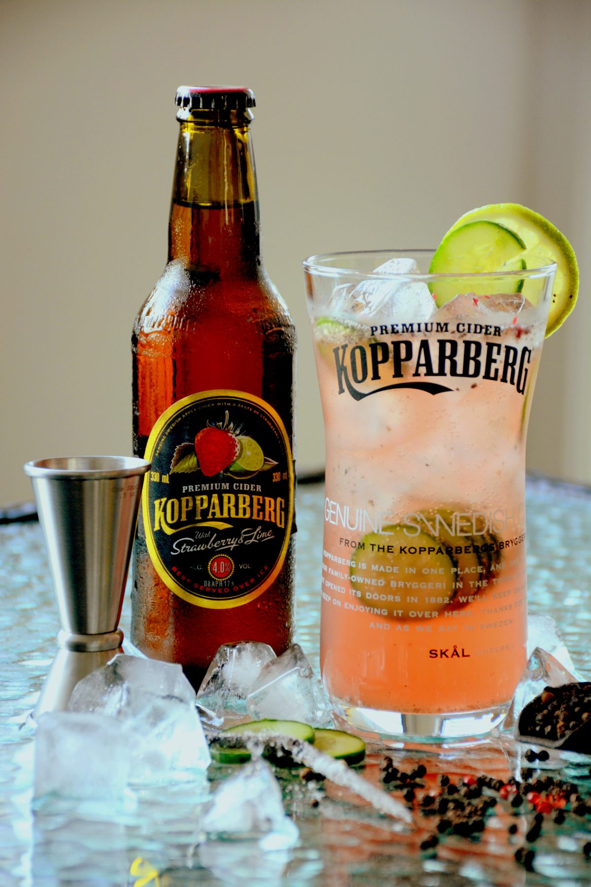 Sgt. Pepper, a Kopparberg cocktail - A peppery kick to the sweet tangy freshness of the Strawberry & Lime completed with the undertones of vanilla - thespiceadventuress.com