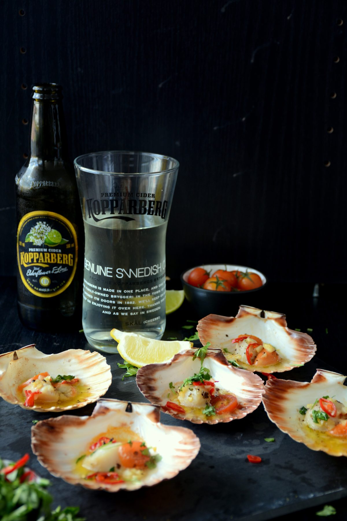 Grilled Scallops with Garlic Butter and Chillies served with Kopparberg Elderflower & Lime Cider - thespiceadventuress.com