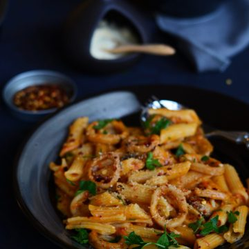 Penne with Chilli Squid in a Roasted Tomato Sauce - simple, delicious and full of flavour - thespiceadventuress.com