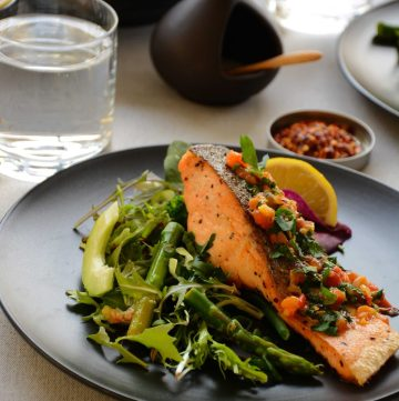 Pan Fried Salmon (with Spicy Green Salad and Tomato Butter Sauce) - a healthy and delicious weekday dinner - thespiceadventuress.com