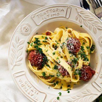Fettuccine Carbonara (with Spicy Sausage Meatballs) - thespiceadventuress.com
