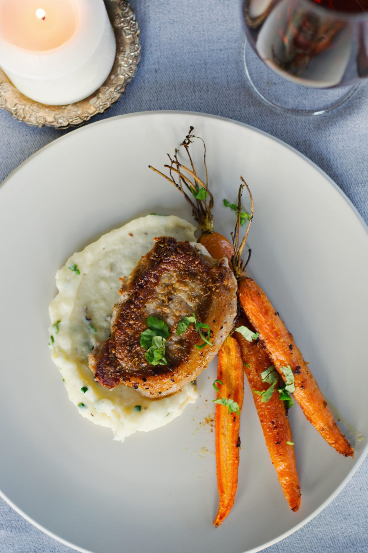 Pork Steaks with Madeira Reduction, Potato Mash and Roasted Carrots