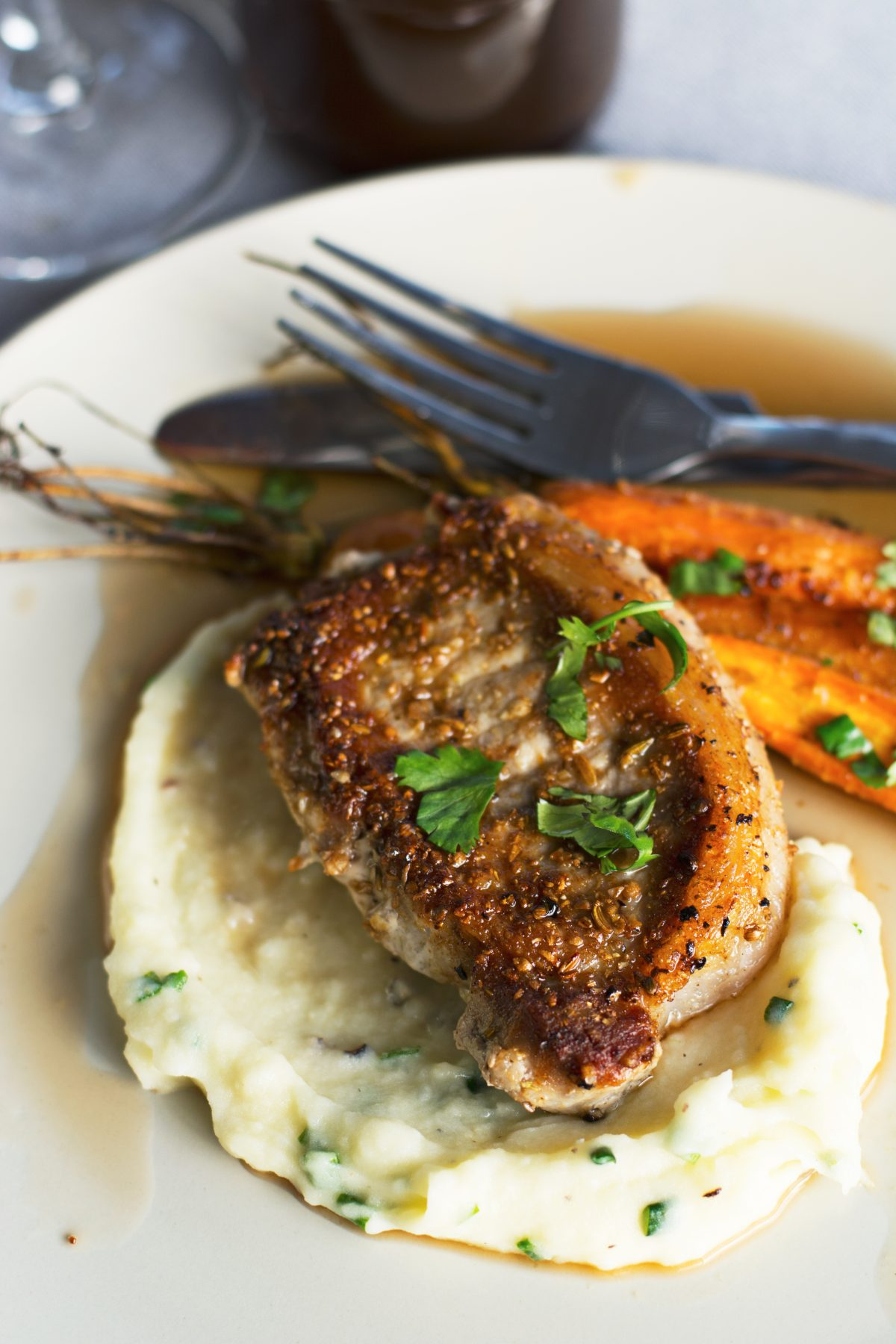 Pork Steaks with Madeira Reduction, Potato Mash and Roasted Carrots - thespiceadventuress.com