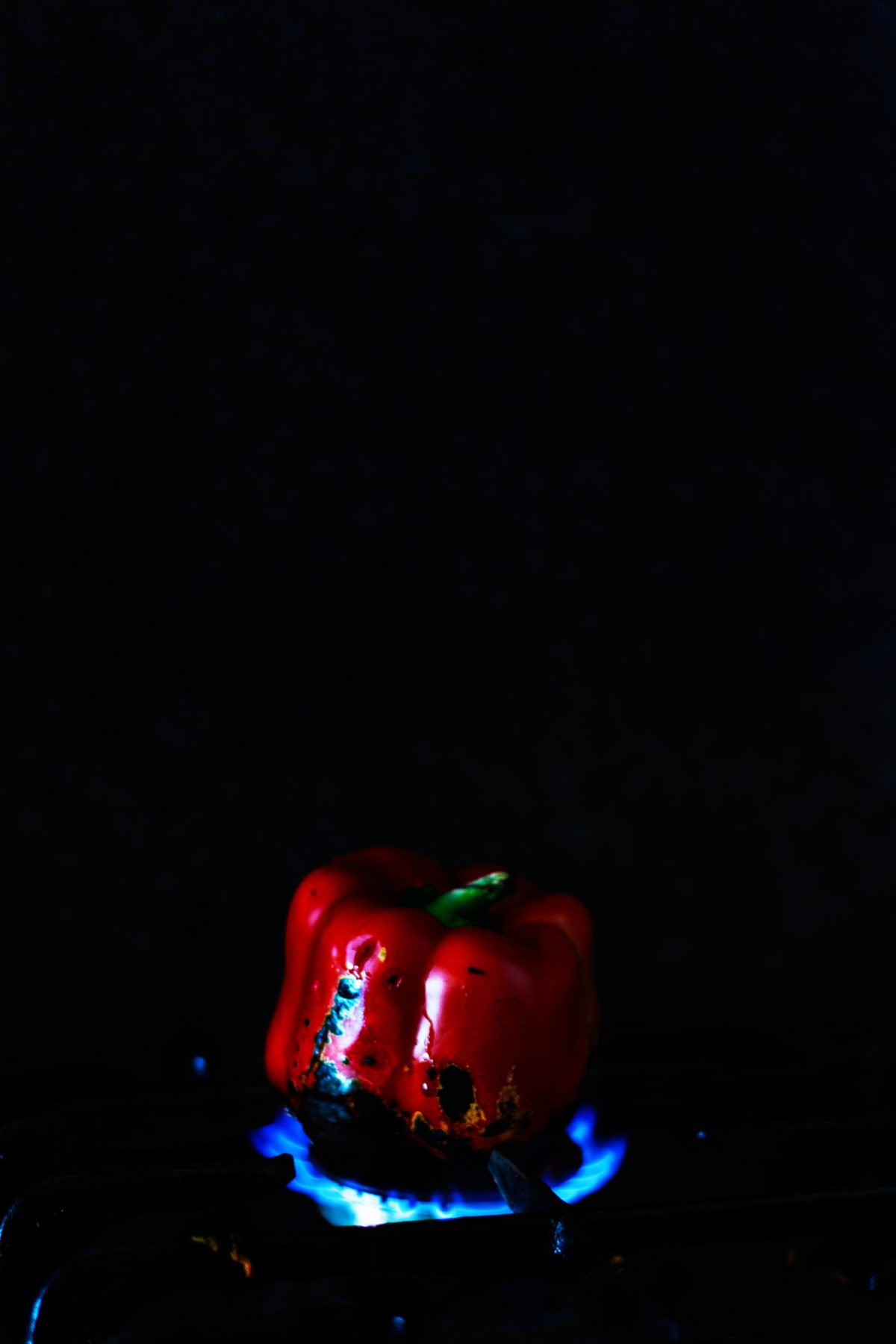 Roasting bell pepper - food photography - thespiceadventuress.com
