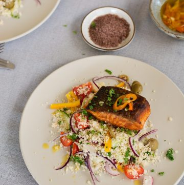 Pan Fried Salmon (with Olive Salt), Garlic Butter Sauce and Couscous Salad - thespiceadventuress.com