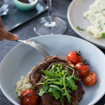 Steak (with Smashed Potato Salad, Cherry Tomatoes, Red Wine Jus) - thespiceadventuress.com