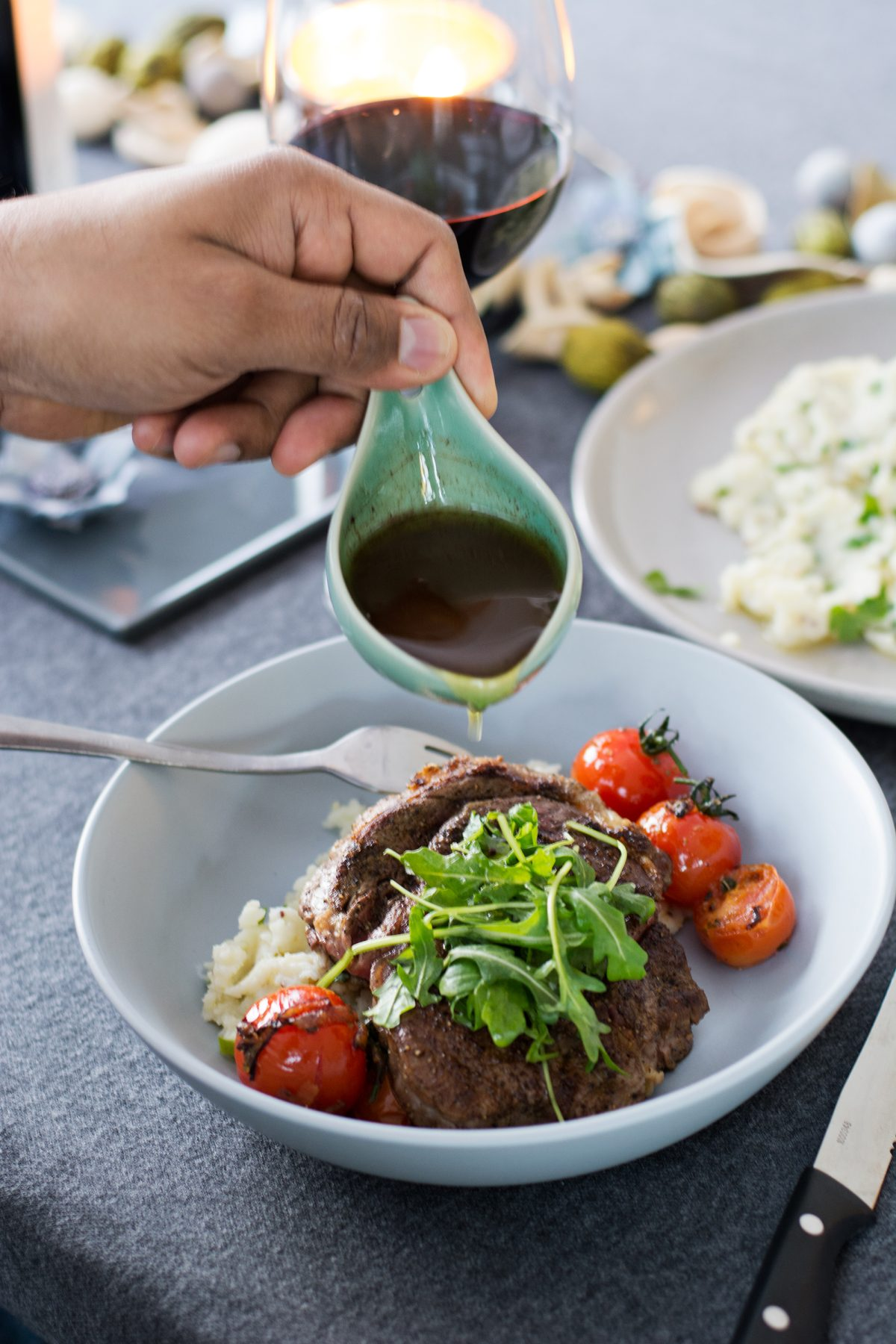 Steak (with Smashed Potato Salad, Cherry Tomatoes, Red Wine Jus) - the ultimate Father's Day recipe - thespiceadventuress.com