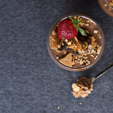 Spiced Rum Chocolate Mousse (topped with Buttercrunch Toffee Crumble) - thespiceadventuress.com