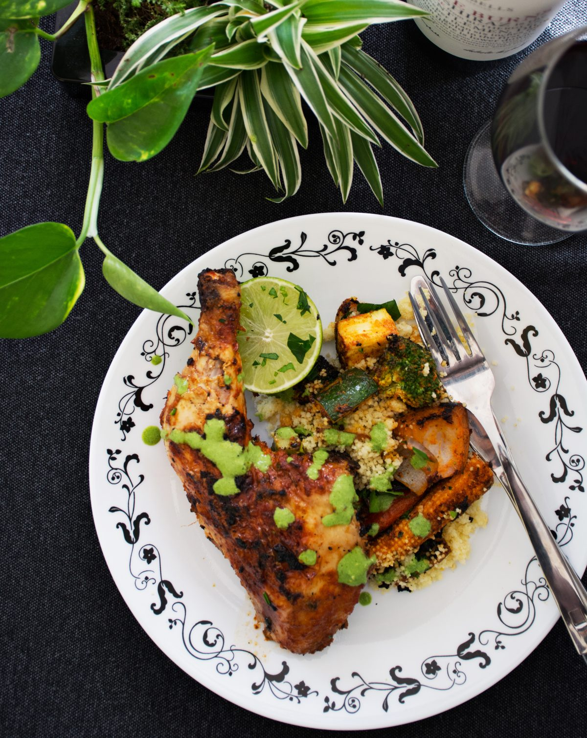 Tandoori Chicken Thighs (with Grilled Vegetables and Couscous) - thespiceadventuress.com