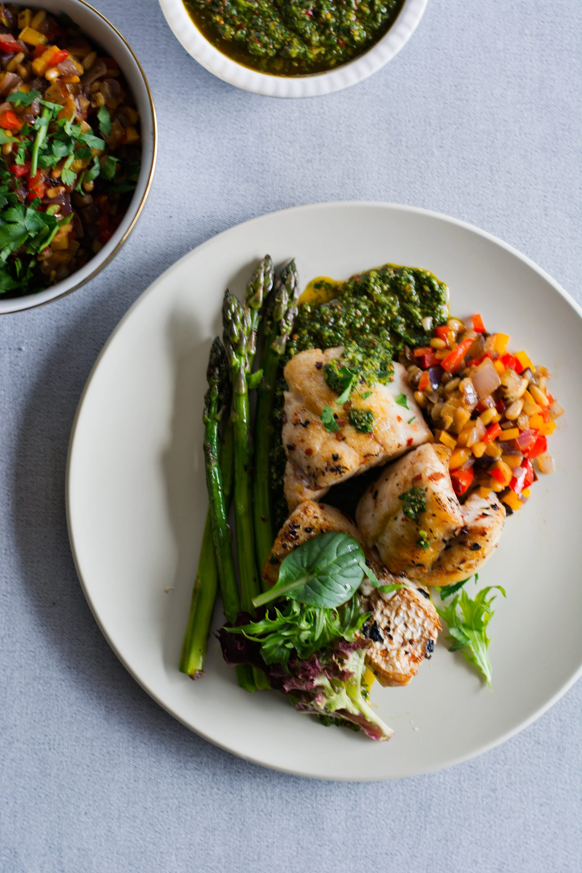 Pan Fried Snapper (with Salsa Verde, Caponata and Asparagus)