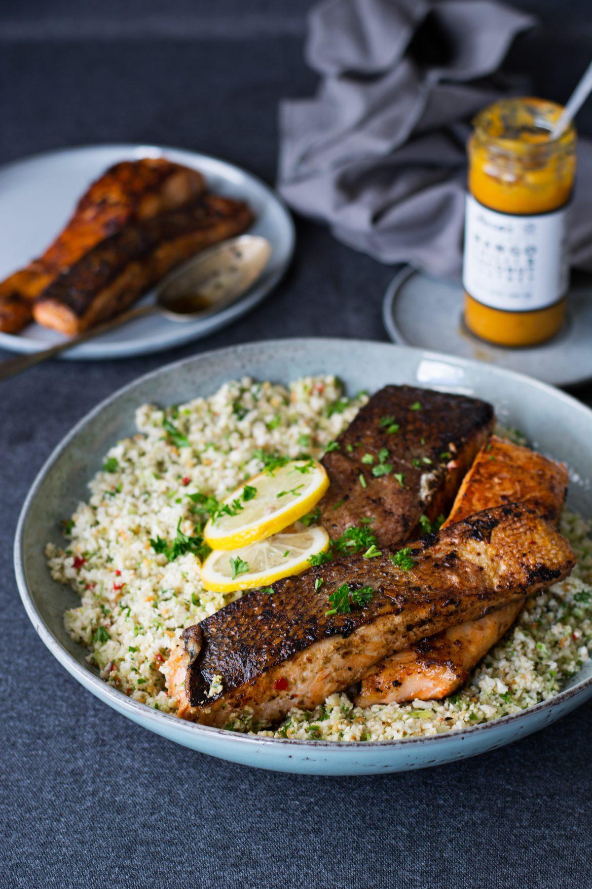 Crispy Skinned Salmon with Cauliflower Rice - thespiceadventuress.com