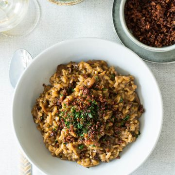 Risotto with Dried Mushrooms (and Bacon Crumbs) - thespiceadventuress.com
