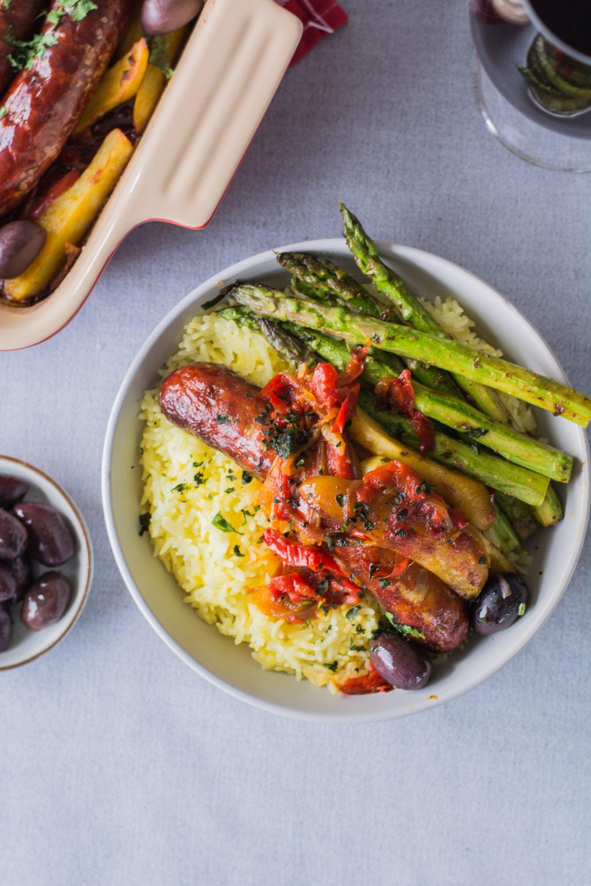 Spanish style Sausage and Potato Bake - thespiceadventuress.com