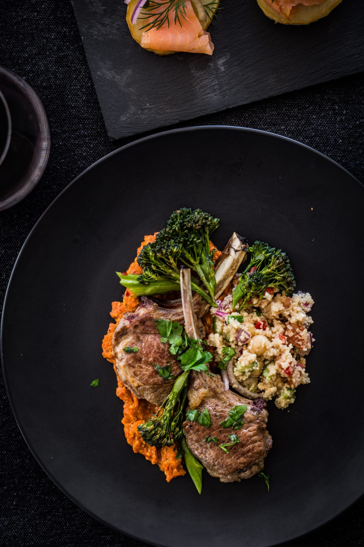 Lamb Cutlets (with Roasted Red Pepper Cashew Puree, Couscous Salad and Charred Broccolini) - thespiceadventuress.com
