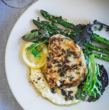 Pork fillets (with sage, lemon and garlic), Mashed potatoes (with sage, brown butter) and Grilled Asparagus (with parsley pesto) - thespiceadventuress.com