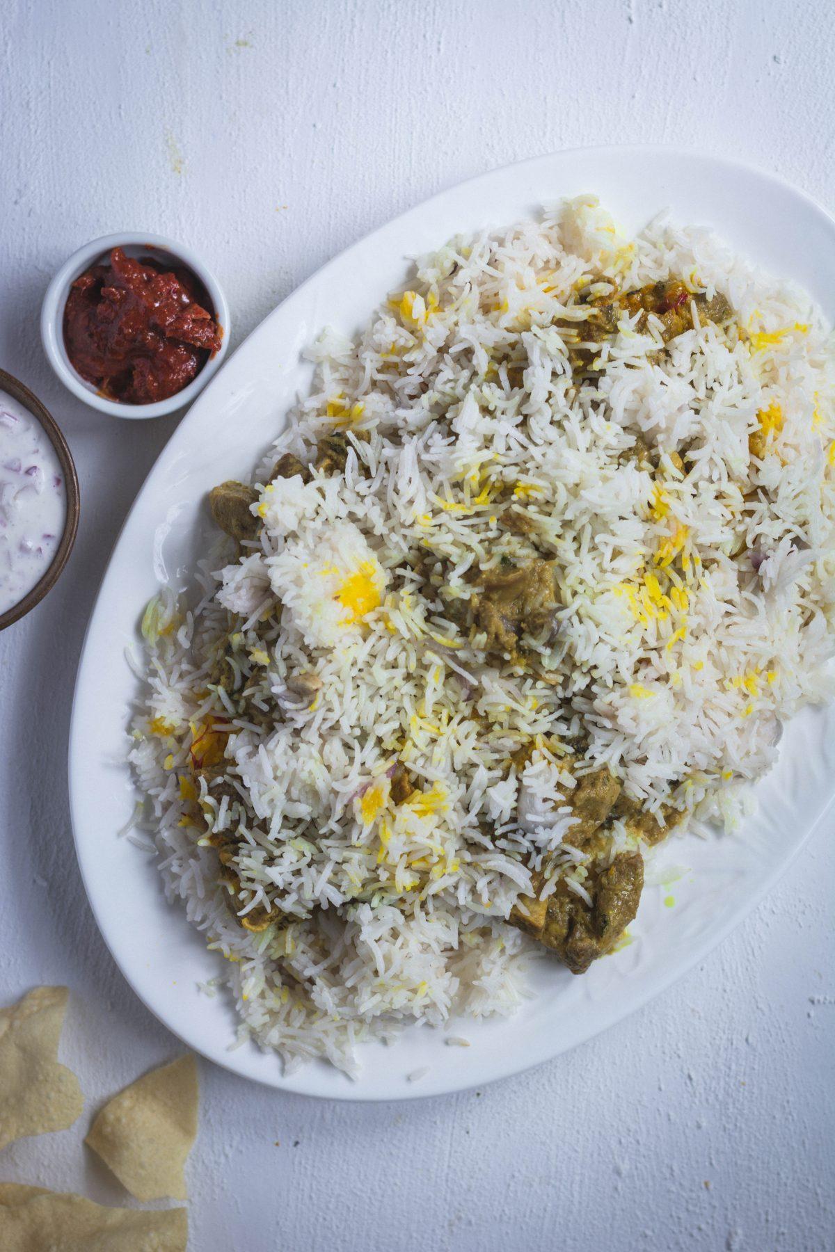 Erachi Biryani (Malabar style Mutton Biryani) - thespiceadventuress.com
